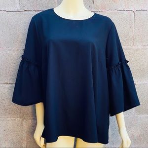 Lane Bryant Plus Size Black Blouse Bell Sleeves